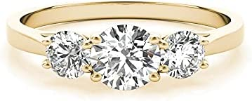 14k Yellow Gold Lab-Grown Diamond 3 Stone Wedding Engagement Ring (1.00 cttw, I-J Color, VS2 Clarity)