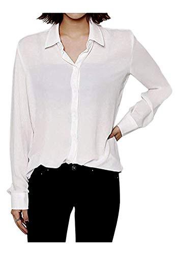 Ivory Silk Blouse - ARJOSA Women's Chiffon Long Sleeve Button Down Casual Shirt Blouse Top (US XL/Asian XXXL, 8 White)