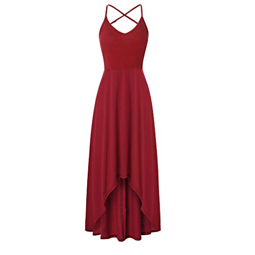 ADREAML Women's Sexy Vintage Party Wedding Bridesmaid Formal Cocktail Dress Sleeveless Backless Solid Halter Mid Calf Dress Red