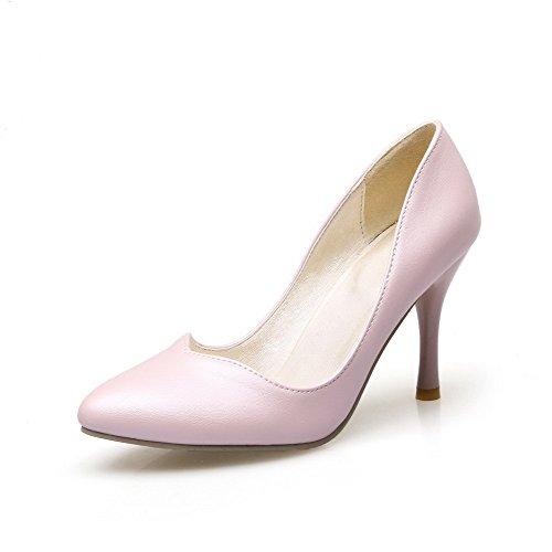 Amoonyfashion Stivaletti Solidi Spike Da Donna Tira Su Punta A Punta Scarpe-scarpe Rosa