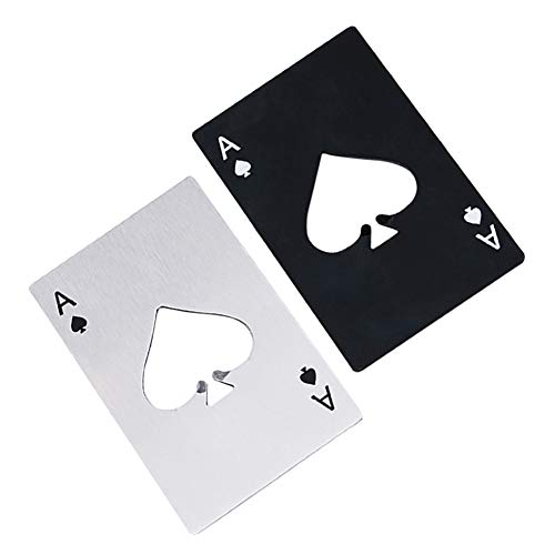 Airoads Ace Of Spades Bottle Opener Credit Card Size Pocker Cap Opener Portable Stainless Steel Can Opener (2 Pack Black & Silver)