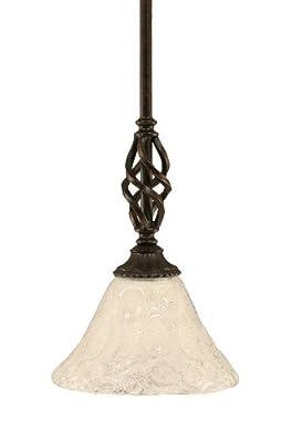 Toltec Lighting 80-DG-451 Eleganté Mini-Pendant Dark Granite Finish with Italian Bubble Glass Shade, 7-Inch