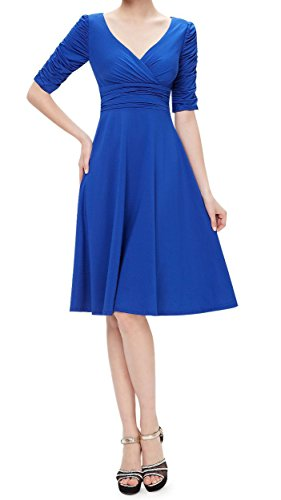 TINYHI-34-Sleeve-Ruched-Waist-Elegant-V-neck-Casual-Party-Dress