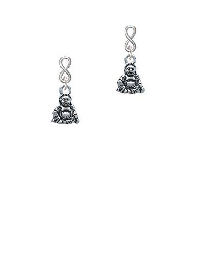 Love Chinese Symbol Earrings - Silvertone Mini Buddha Infinity Post Earrings