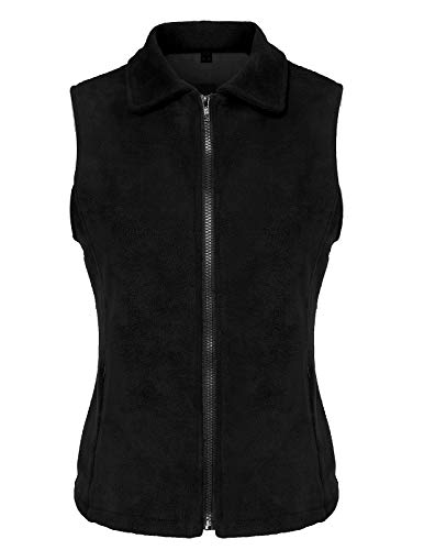 CHICIRIS Women's Standard Full-Zip Polar Fleece Vest Black Size (Full Zip Polar Fleece Vest)