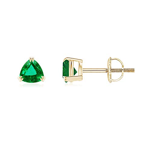 Double Claw-Set Trillion Emerald Stud Earrings in 14K Yellow Gold (4mm Emerald)