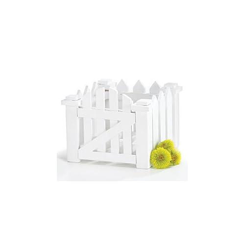 White Wood Picket Fence Planter For Home Decor,Wedding Decor