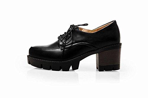 Mee Shoes Damen modern bequem dicker Absatz mit Schnürsenkel runder toe Geschlossen Blockabsatz Plateau Pumps Schwarz