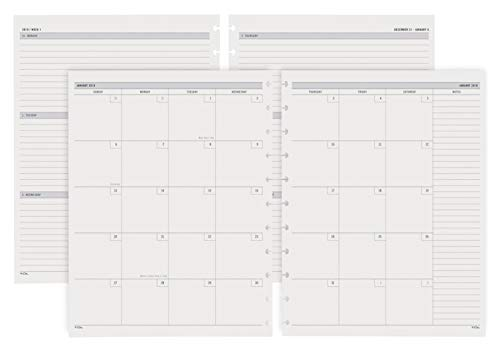TUL Custom Note-Taking System Discbound Weekly/Monthly Refill Pages, 8 1/2