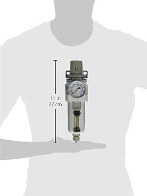 "PneumaticPlus SAW3000M-N03BG-MEP Air Filter Regulator Combo Piggyback, 3/8"" Pipe Size, NPT-Manual Drain, Metal Bowl with Gauge"