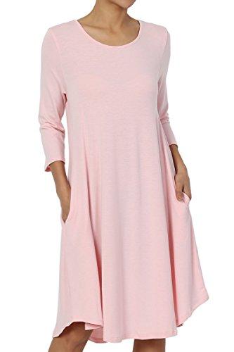 TheMogan Women's 3/4 Sleeve Trapeze Knit Pocket T-Shirt Dress Dusty Pink S