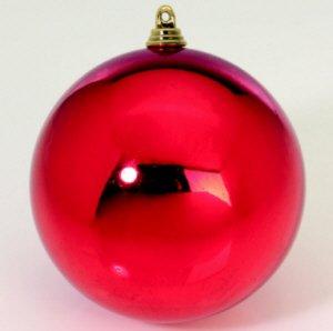 12er Set Weihnachtskugeln 8cm Ø, rot/glanz, Kunststoff, Lieferung frei Haus