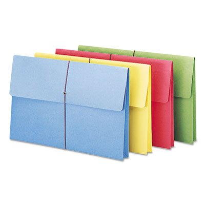 2'''' Accordion Expansion Wallet, Elastic Cord, Lgl, Blue/Green/Red/Yellow, 50/Box, Sold as 50 Each