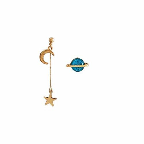 COLORFUL BLING Space Universe Star Moon Stud Earrings Planet Asymmetric For Women Girl