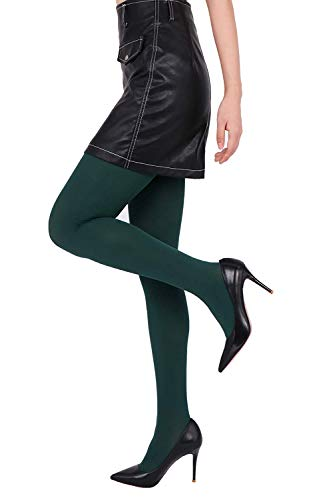 Green Tights Womens (CozyWow Women's 80D Soft Solid Color Semi Opaque Footed Tights (L-XL, Forest)