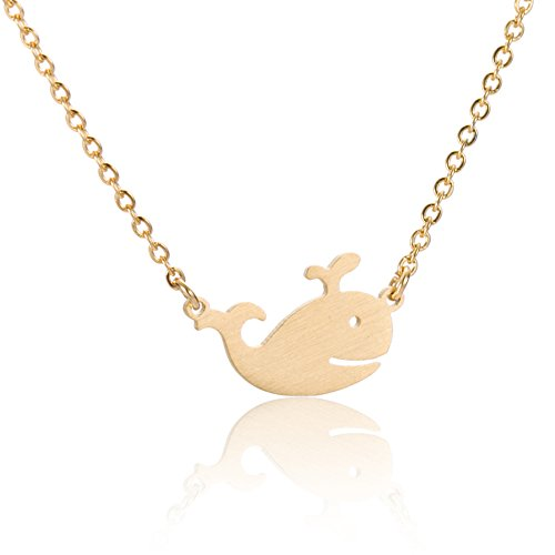 Huan XUN Whale Necklace 18k Gold Plated Dainty Pendant Jewelry (Blue Whale Charm)