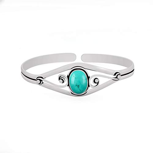 13.50gms, 6.00ct Genuine Turquoise .925 Silver Overlay Handmade Fashion Cuff Bangle Jewelry ()