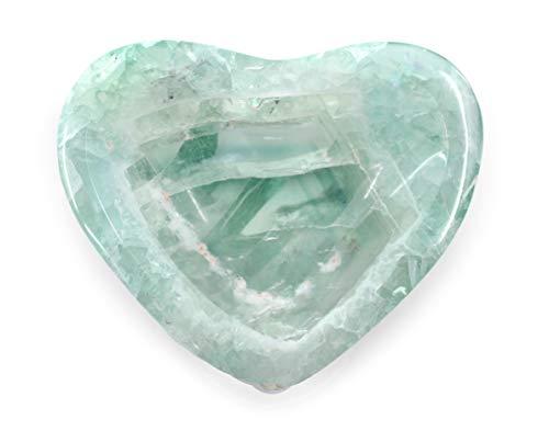 hBARSCI Lovely Green Fluorite Gemstone Heart Shaped Dish, 3