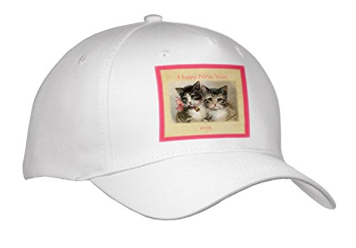 New Year Designs - Image of Vintage Style 2018 Happy New Year Kittens - Caps - Adult Baseball Cap - Images Vintage New Happy Year