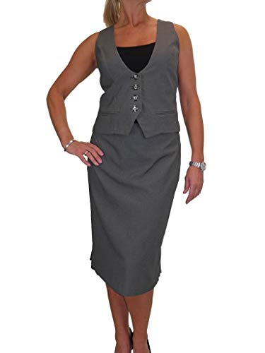 Fully Lined Tweed Coat (icecoolfashion Waistcoat Skirt Suit Washable Fully Lined Work Office Clubbing Grey Tweed 6-16 (6))