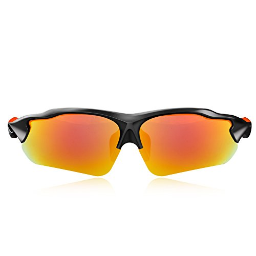 Black Matte Blade - Hulislem Blade Ⅱ Sport Polarized Sunglasses-FDA Approved (Matte Black-Revo Red)