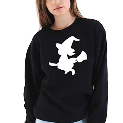 ADLISA Women's Halloween Witch Broom Letter Print Long Sleeve Casual Sweatshirt Crop Tops (Color : BlackWhite, Size : XXXL) ()