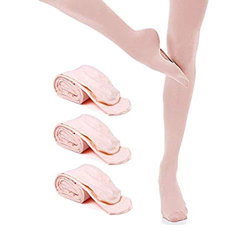 JEANSWSB 3 Pairs Girl Ballet Dance Footed Tights Socks Cutout Foot bottom Ballerina Leggings