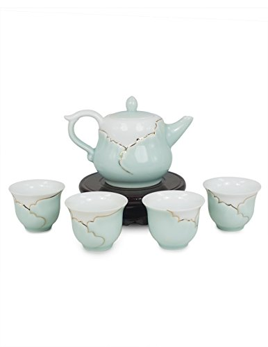 Dahlia Hand Crafted Porcelain Tea Set with Gold trim ( Tea Pot + 4 Tea Cups) in Gift Box