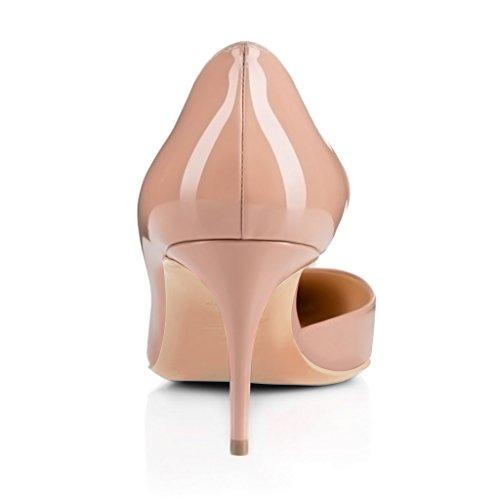 Fsj Femmes Élégantes Dorsay Pompes En Cuir Verni Bout Pointu Diapositives Talons Robe De Soirée Chaussures Taille 4-15 Nous Nu