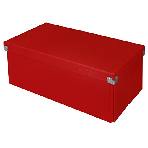 Pop n' Store Decorative Storage Box with Lid - Collapsible and Stackable -  Essential DVD Storage Box - Red - Interior Size (14.625
