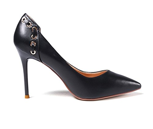 Black Leisure 39 Single High Spring Head Women'S MDRW Shallow Heels Work Shoes Elegant 9 Shoes Work Shoes Lady 5Cm Fashion Sharp qwg6AtH