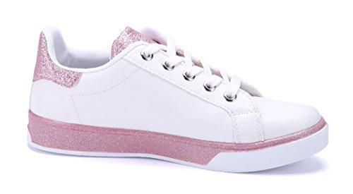 Schuhtempel24 Damen Schuhe Low Sneaker Weiß Flach Ziersteine