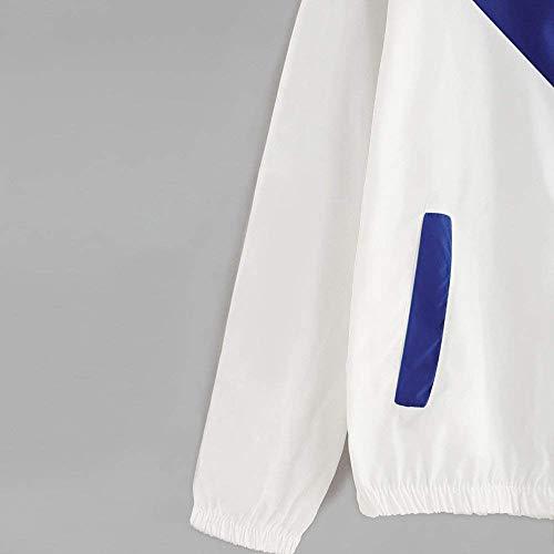 Donne A Sportiva Con Cappuccio Da Casuale Allentata Manica Moda Patchwork Softshell Giacca Donna Elegante Vento Blau Lunga Capispalla Tasche A3Rj5qL4