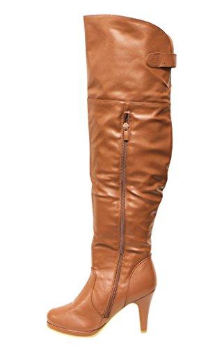 tan 5 almond top over knee page zipper side boots women s toe moda