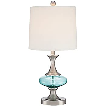 Reiner brushed steel and blue green glass table lamp amazon reiner brushed steel and blue green glass table lamp aloadofball Gallery