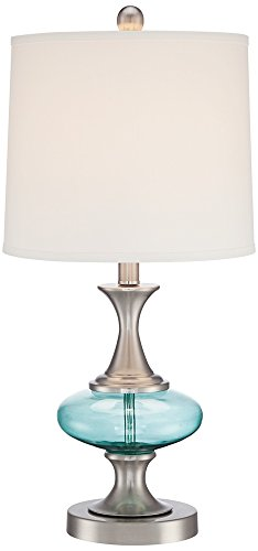 Reiner Brushed Steel and Blue-Green Glass Table (Brushed Steel Glass Table Lamp)
