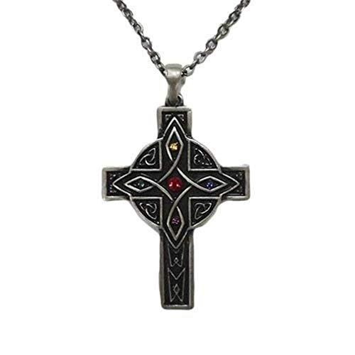 Ky & Co YesKela Celtic Design Cross Necklace Pendant Pewter Alloy Celtic Cross Dragon Pendant