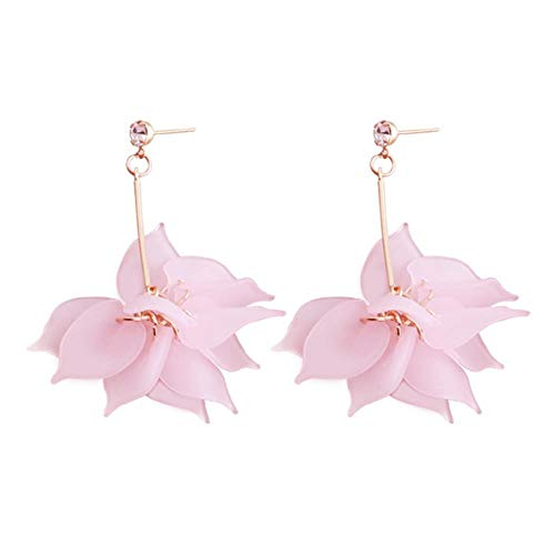 - Plastic Flower Dangle Earrings Multiple Petal Stitching Flower Drop Earrings for Women(yellow)