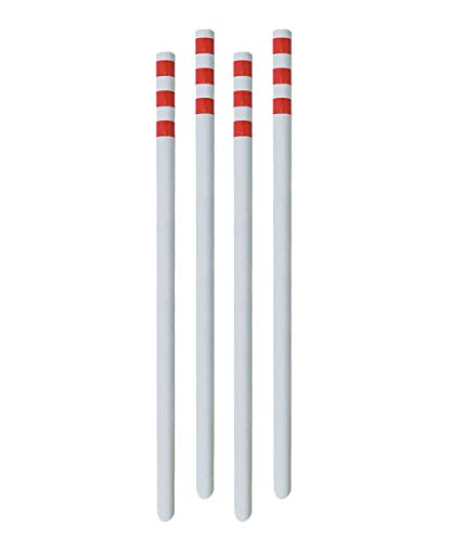 Setmas U-Channel Driveway MarkersSnow MarkersDelineator Postwith 3Pcs Red Reflective Tapes for High Visibility at Night 4 Pack White ()