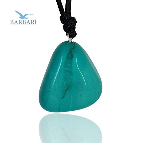BARBARI Jewelry Raw Natural Turquoise Crystal Necklace | Handmade Gift for Him and Her+ Free Gift Wrap+ Free Gift ! High Quality Natural Rock Healing Gemstone Pendant for Men and Women ()