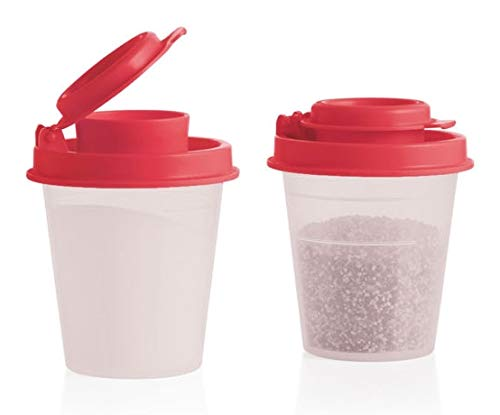 Tupperware Salt and Pepper Shakers Mini Set Clear with Red ()