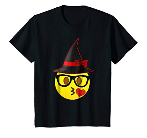 Kids Nerd Emoji Witch Hat Halloween T-Shirt for Girls and Women 10 Black -