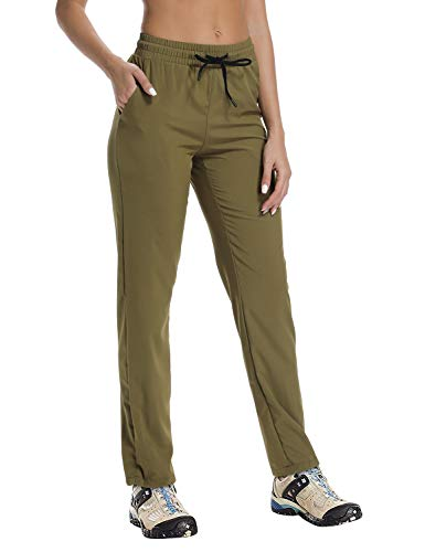 FitsT4 Women's Light Weight Quick Drying Outdoor Hiking Trekking Cargo Pants with Drawstring Hem Olive Green ()