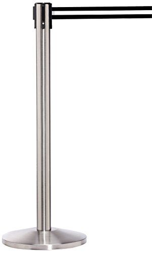 ComeAlong Crowd Control Stanchion Matte Stainless Pole with 11' Heavy Duty Yellow/Back Belt,