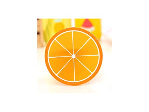 Miniature Eco-Friendly Round Non-Slip Holder Anti-hot Mat Cute Color Fruits Pattern Drink Silica Gel Cup Cushion(Orange) for Ornament