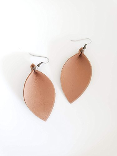 Camel/Leather Leaf Earrings/Joanna Gaines Zia Style/Statement Earrings/Boho/Everyday Style/Lightweight & Comfortable/Medium