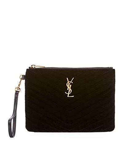 97ebef63d25 Saint Laurent Master Small Velvet Monogram YSL Wristlet Pouch Wallet (Black)