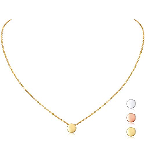 18K Gold Plated Sterling Silver Dot Necklace Round Circle Bead Floating Pendant Necklace for Women Girls, 16''