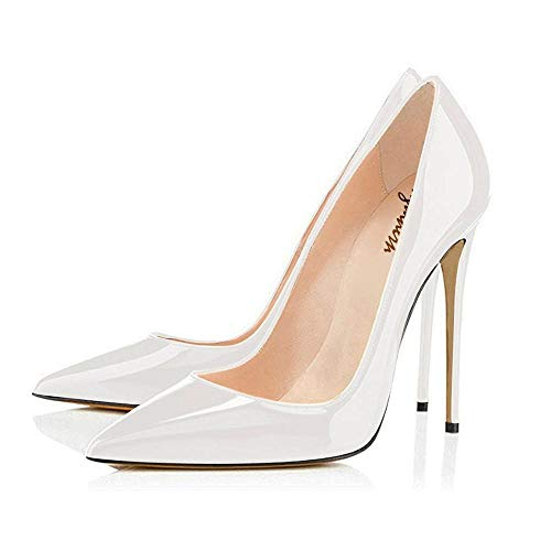 (Maguidern Patent Leather Pumps Shoes Women's 5 inches Sexy High Heel Shoes Pointed Toe Party Dress Pumps White Size 6.5)