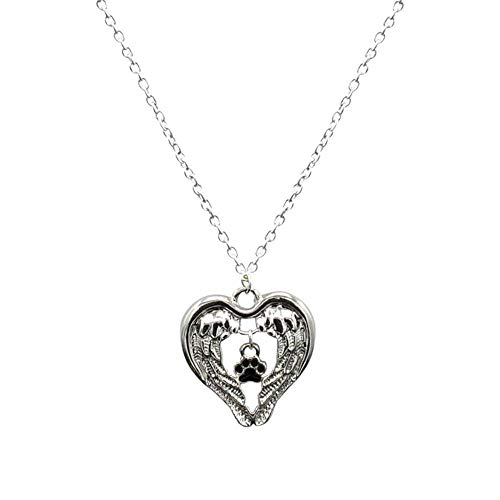 (Womens Personality Jewelry Crystal Dog Claw Love Pendant Necklace)
